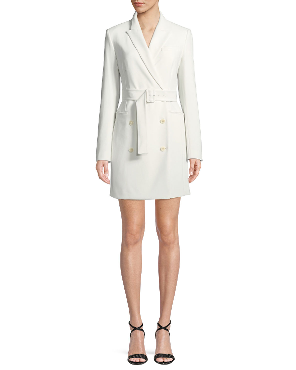 268dfec774 Theory Double-Breasted Belted Admiral Crepe Blazer Dress In Ivory ...