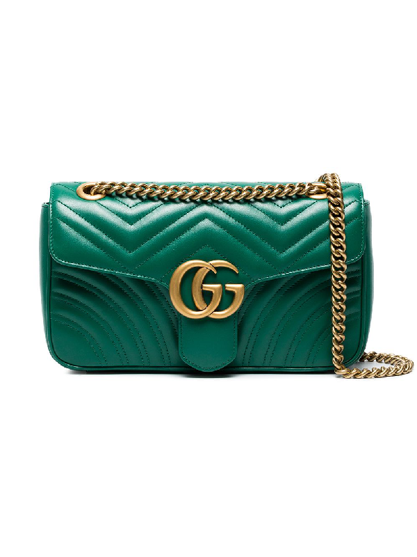 Gucci Gg Marmont Small Quilted Leather Shoulder Bag In Green