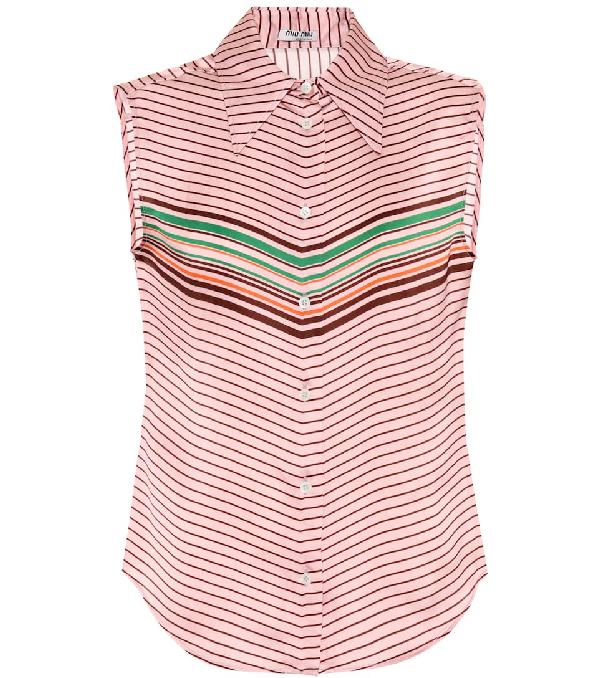 Miu Miu Sleeveless Striped Top In Pink