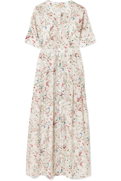 7f33d04669565 Paloma Blue Luna Lace-Trimmed Floral-Print Silk Midi Dress In White ...
