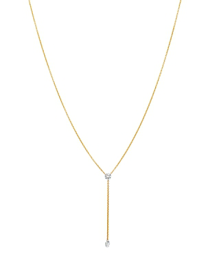 89b9bc9f81c56b Aerodiamonds 18K Yellow Gold Duet Diamond Y Necklace, 18 In White/Gold
