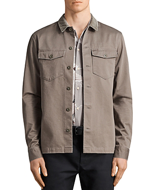 Allsaints Tactical Regular Fit Button-Down Shirt In Olive Green