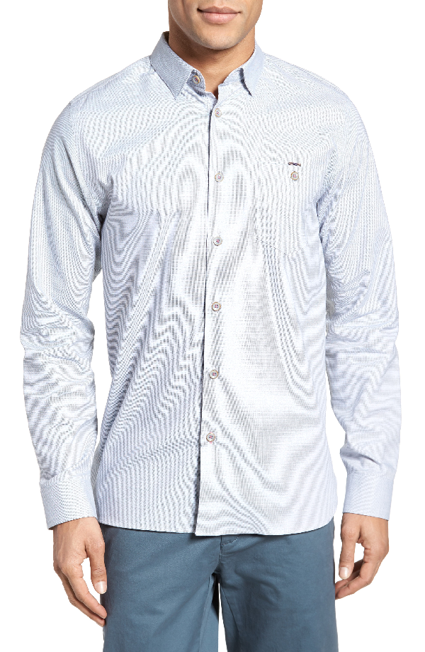 Ted Baker Slim Fit Textured Sport Shirt In Grey