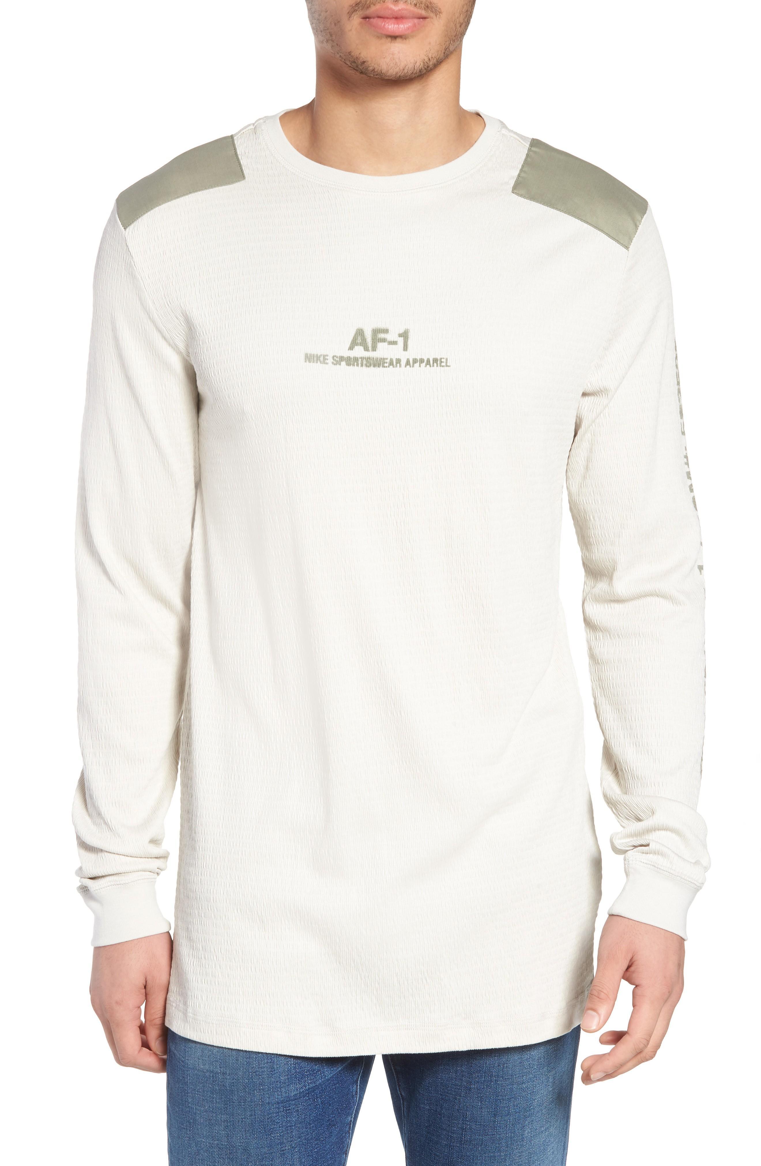debee9a2 Nike Sportswear Af-1 Long Sleeve Shirt In Light Bone/ Stucco/ Stucco ...