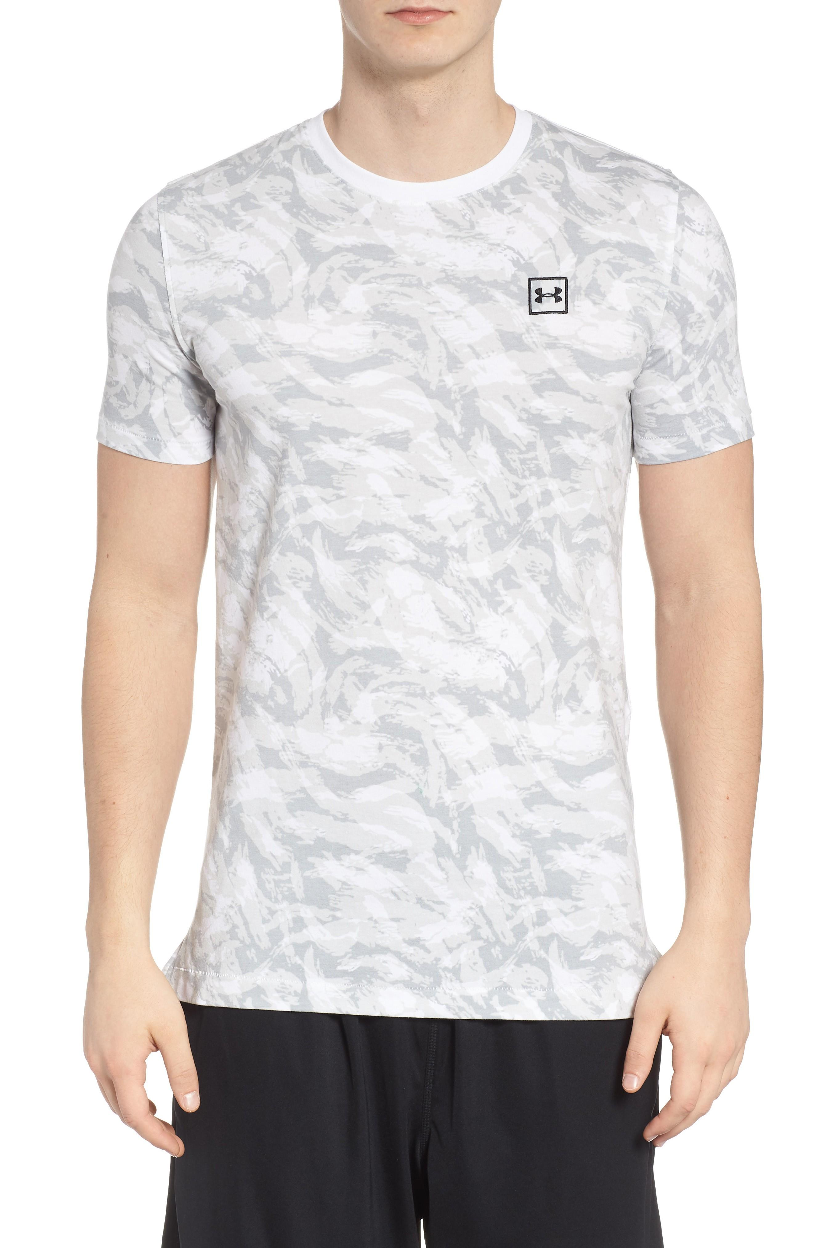 bc871fa0 Under Armour Sportstyle Print Charged Cotton Fitted T-Shirt In White/ Black