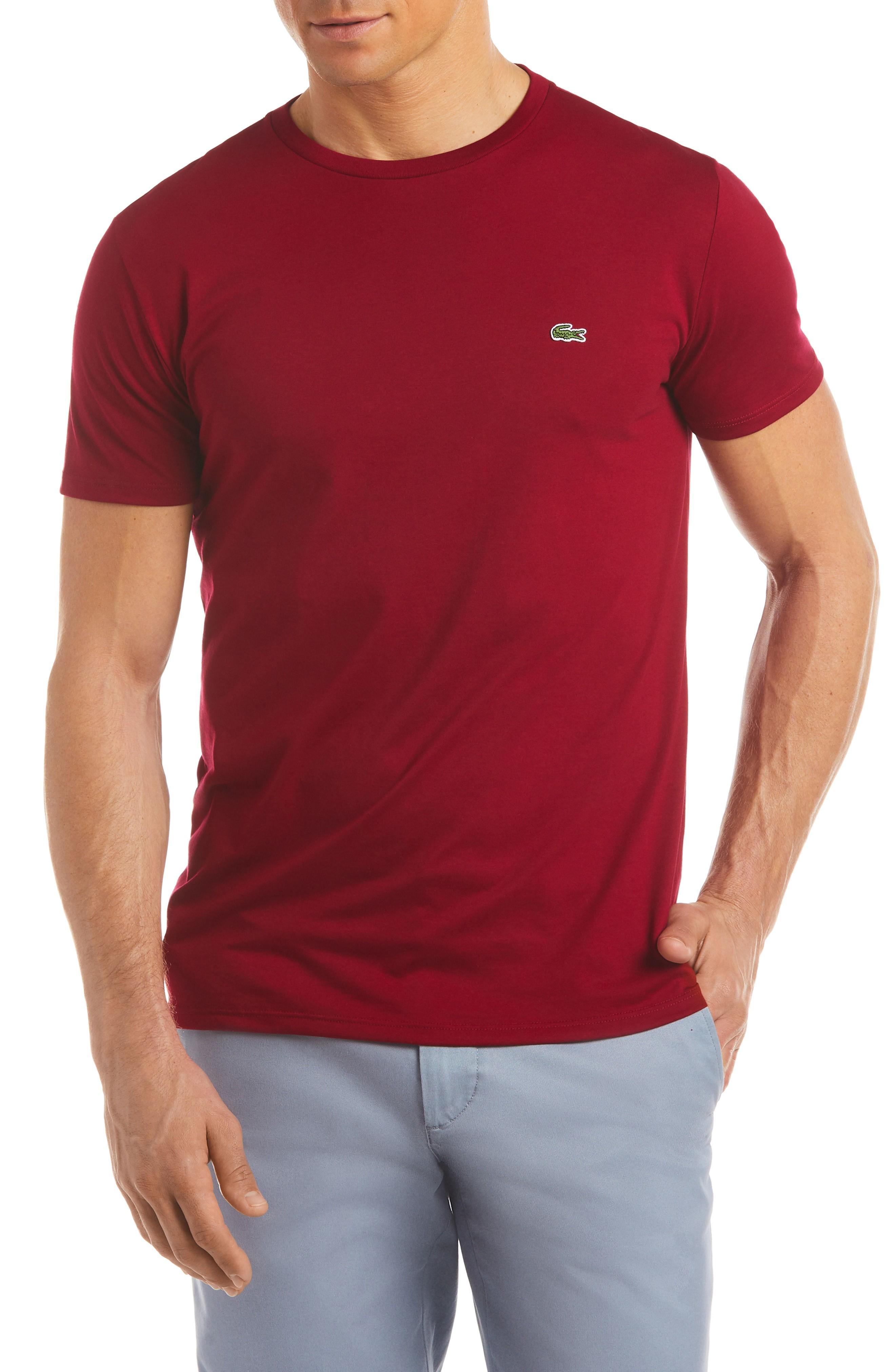 Lacoste Crewneck Cotton T-Shirt In Bordeaux