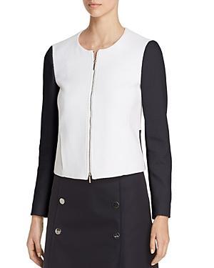 Hugo Boss Koralie Color Block Zip Jacket In Vanilla Light