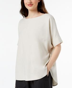 Eileen Fisher Bateau-Neck Linen Top In Bone