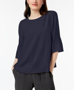 Eileen Fisher Round-Neck Flutter-Sleeve Silk Top, Petite In Salt Lake