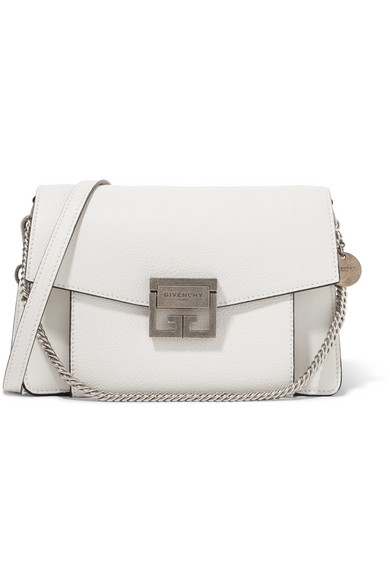 05a8a8a39d Givenchy Gv3 Small Textured-Leather Shoulder Bag In White | ModeSens
