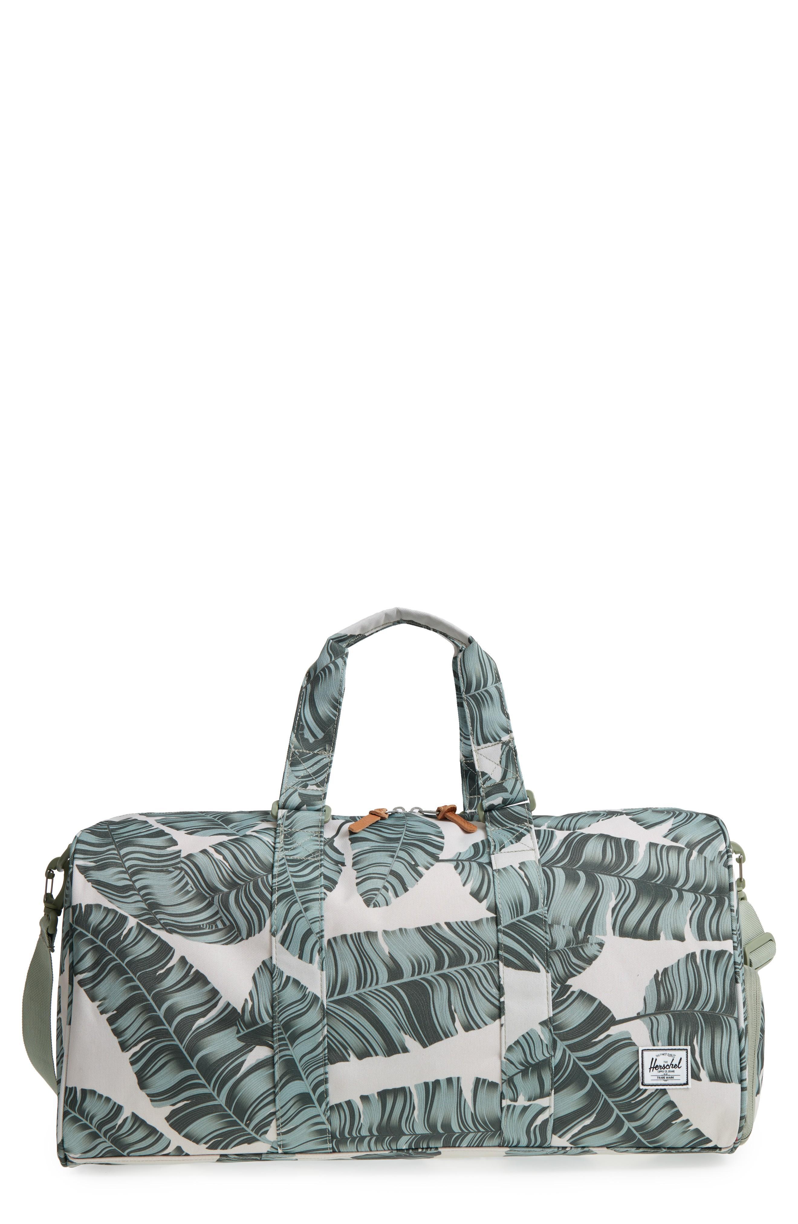 b2028799c11 Herschel Supply Co. Novel Canvas Duffel Bag - Metallic In Silver Birch Palm