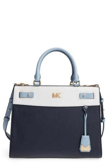 a44b47e1476b48 Michael Kors Reagan Large Leather Satchel - Blue In Admiral/ White/ Pebble  Blue