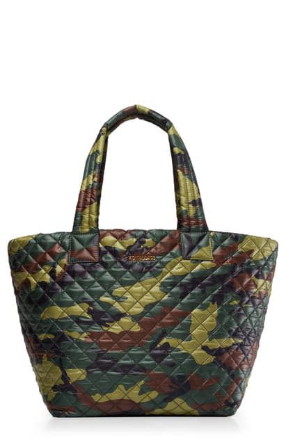 Mz Wallace Oxford Metro Large Camo Print Tote In Quilted Camo Oxford Nylon