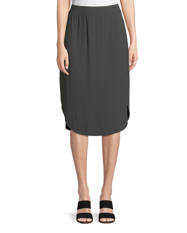 e035238134 Eileen Fisher Viscose Jersey Slim Pull-On Skirt In Graphite   ModeSens