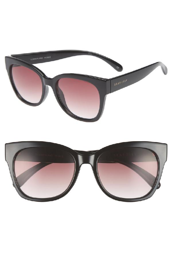 Seafolly Summerland 55mm Cat Eye Sunglasses - Black