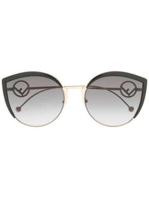 Fendi Women's Oversized Rimless Cat Eye Sunglasses, 61Mm In Black