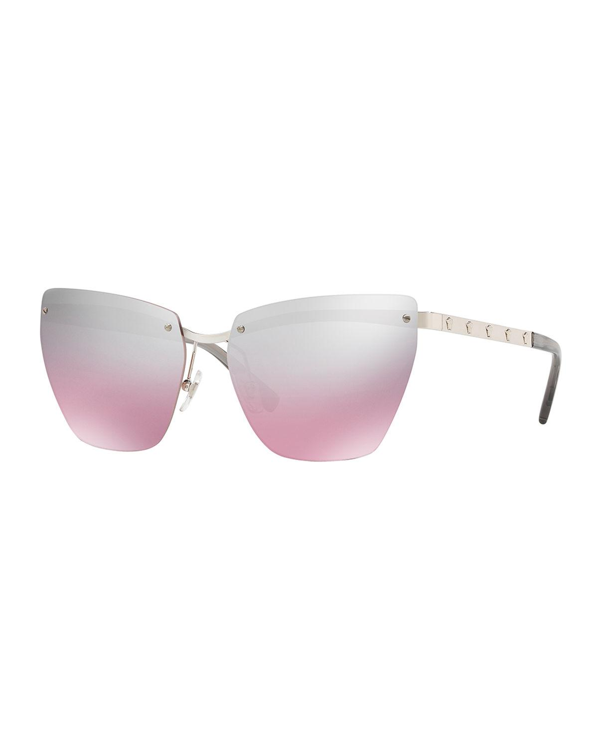 191b0506057 Versace rimless cat eye sunglasses in polished metal. Lens bridge temple  (in mm)  58-14-140. Mirrored lenses with screws at front. Adjustable nose  pads.