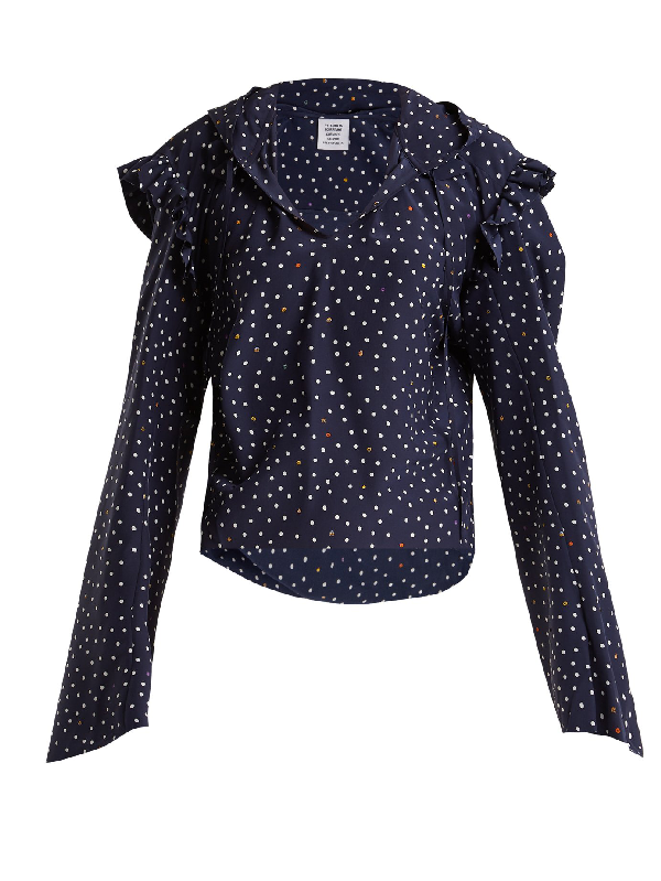 Trimmed Silk Blouse Ruffle Dot Hooded Multi Polka Vetements Navy In qzMpUSV