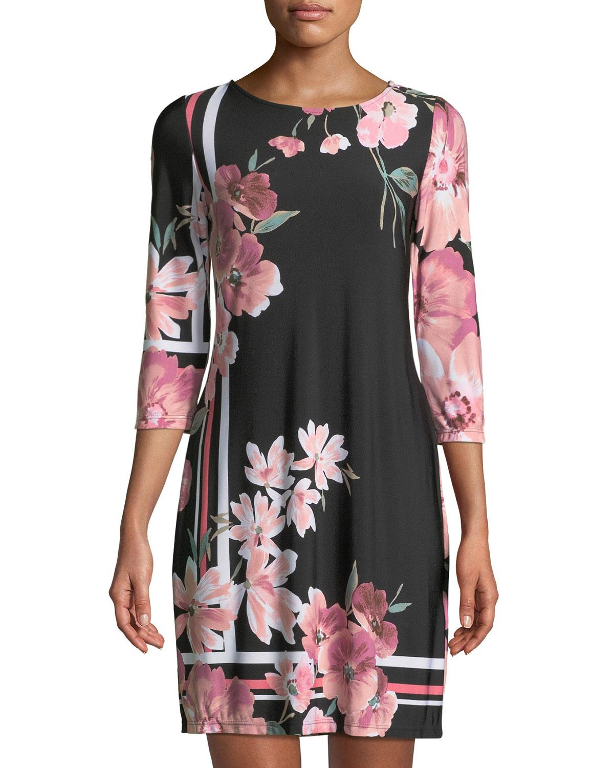8f8fe2db7e8 Neiman Marcus 3/4-Sleeve Floral-Print Shift Dress In Black/Pink ...