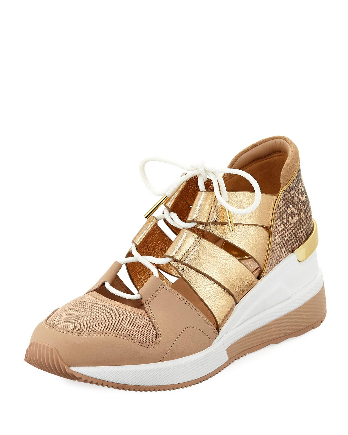 7680ea20389 Michael Michael Kors Beckett Metallic Trainer Sneakers In Oyster Gold
