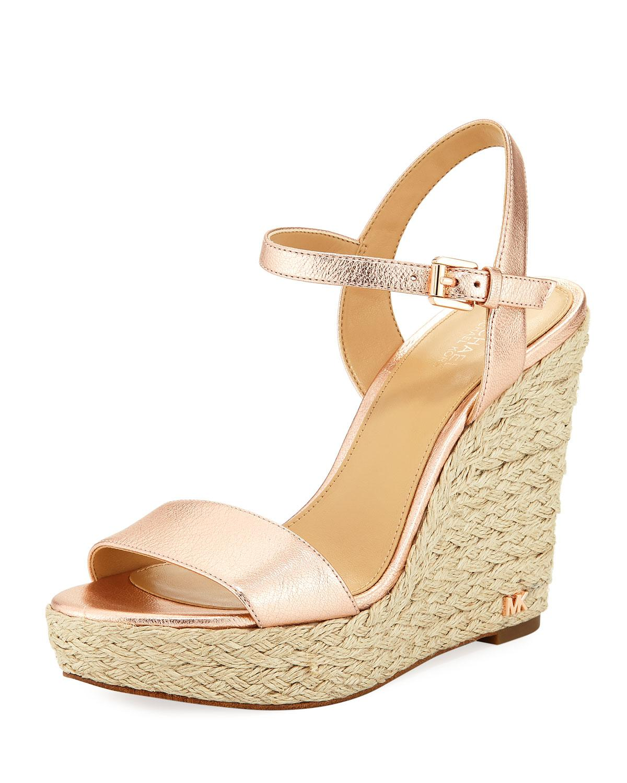 8c12f2ece36 Jill Metallic Napa Espadrille Wedge Sandal in Soft Pink
