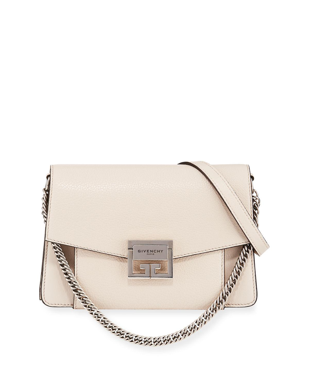 Givenchy Gv3 Medium Pebbled Leather Shoulder Bag - Silvertone Hardware In  Beige 4899ae677ff00