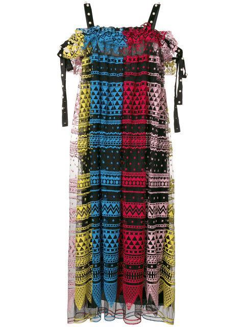 Philosophy Di Lorenzo Serafini Geometric Embroidered Dress In Multicolour