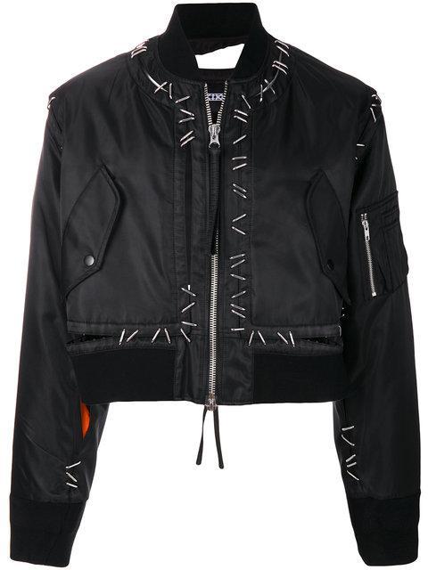 Ktz Metal Pin Bomber Jacket - Black