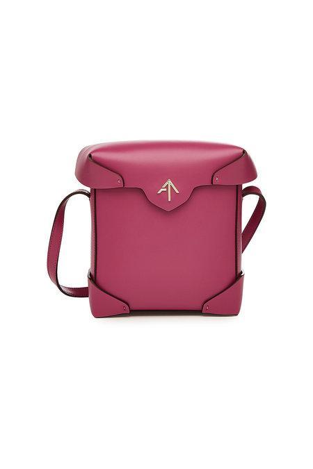 Manu Atelier Mini Pristine Leather Shoulder Bag In Magenta