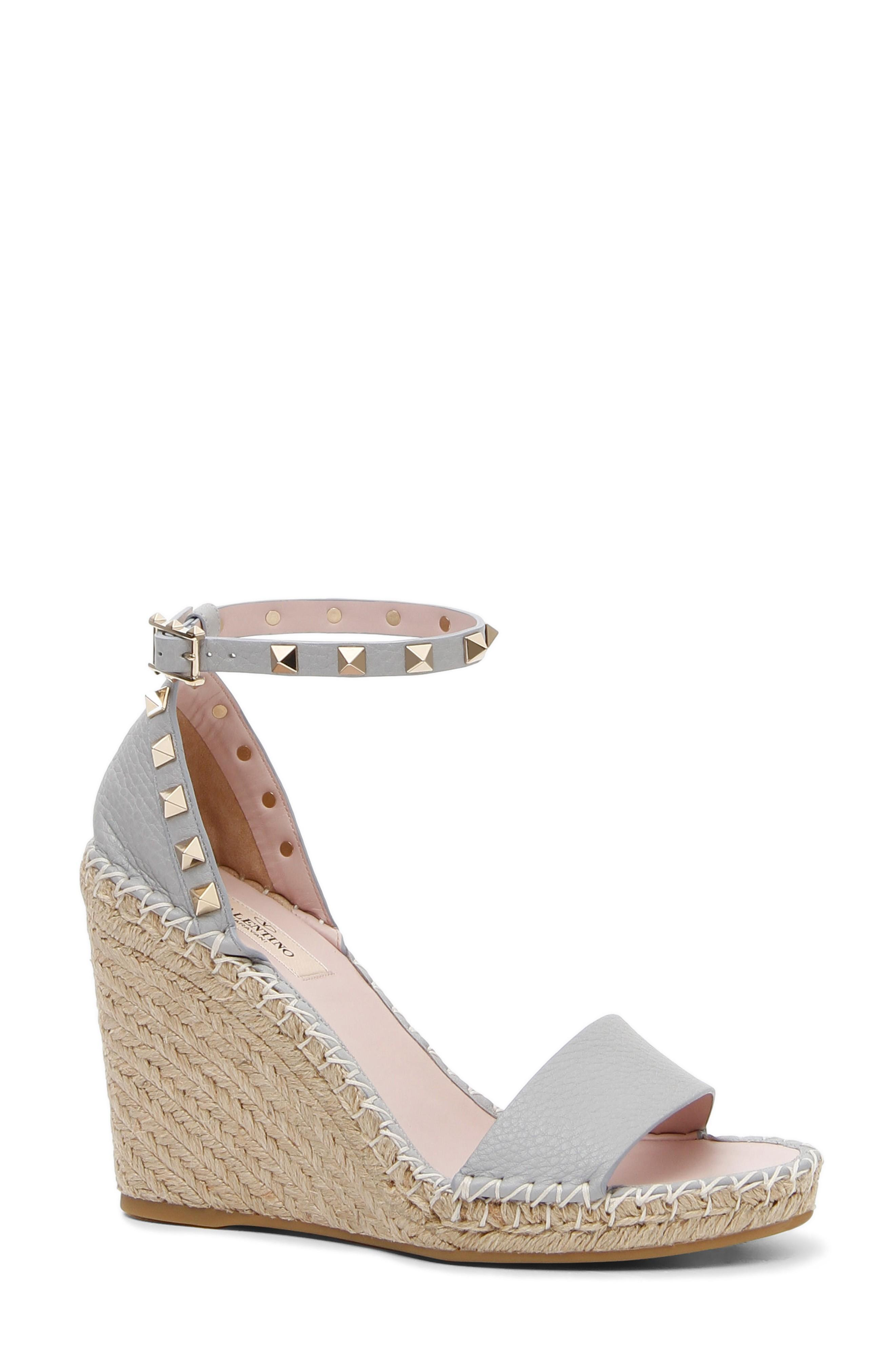 d3aa34477e0 Valentino Grain Calfskin Leather Rockstud Double Wedge Sandal 95Mm ...
