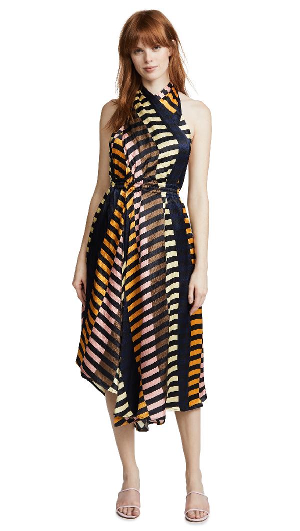 b21552e0202a43 Apiece Apart Nightingale Silk Halter Dress In Majorelle Print | ModeSens