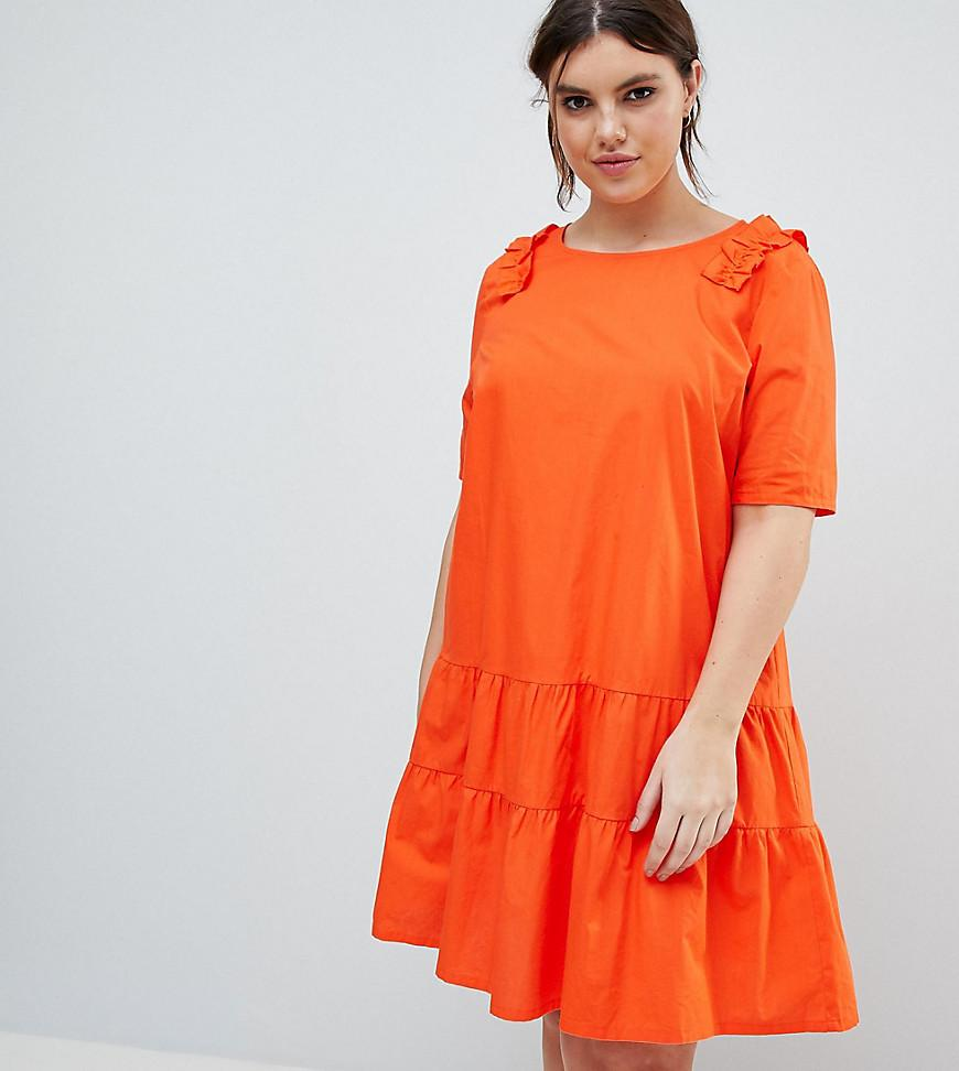 Frill Smock Dress - Red