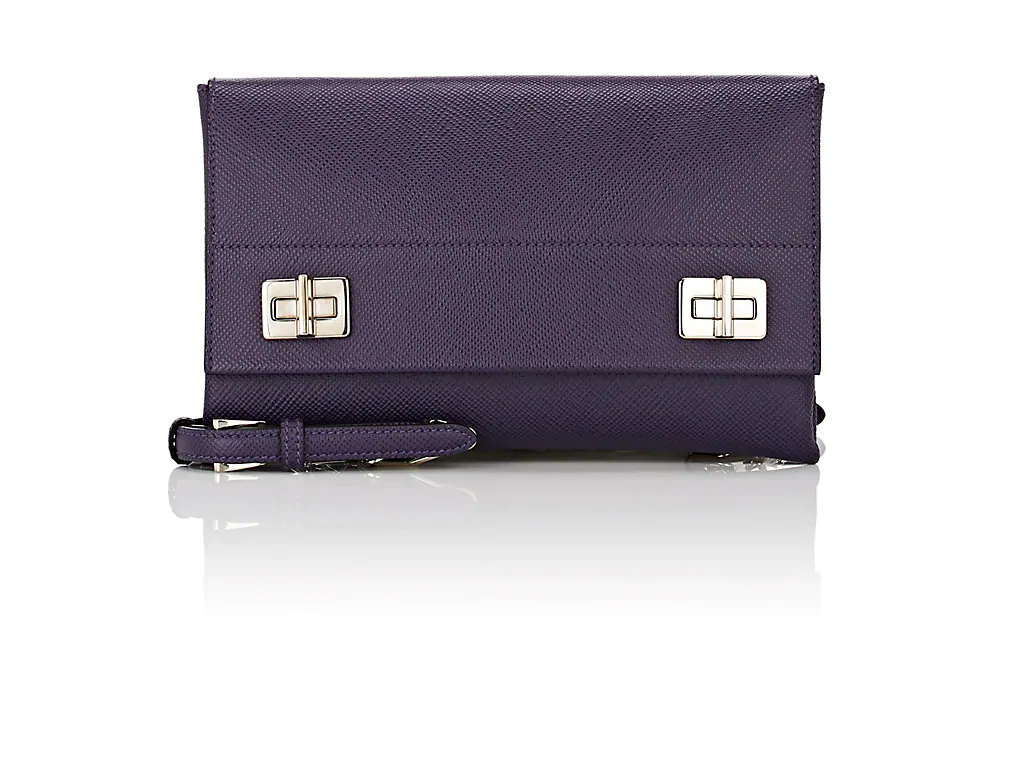 897f5253f8 Prada Leather Shoulder Bag In Purple