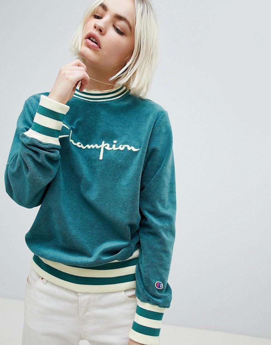 Champion Logo Sweatshirt In Towelling - Green