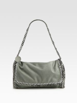 Stella Mccartney Falabella Metallic Fold-Over Shoulder Bag In Light Grey