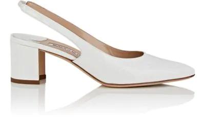 4953edc29c6e7 Manolo Blahnik Allurasa Patent Leather Slingback Sandals In White Patent