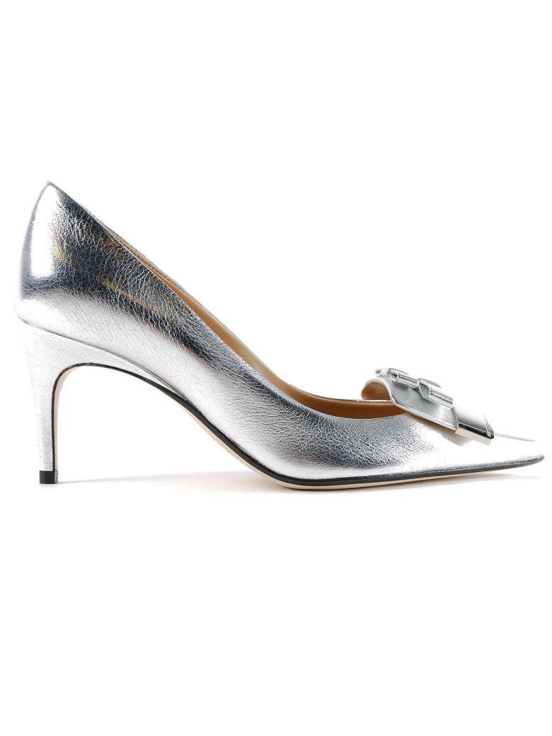 Sergio Rossi Nappa Silk Pumps In Silver
