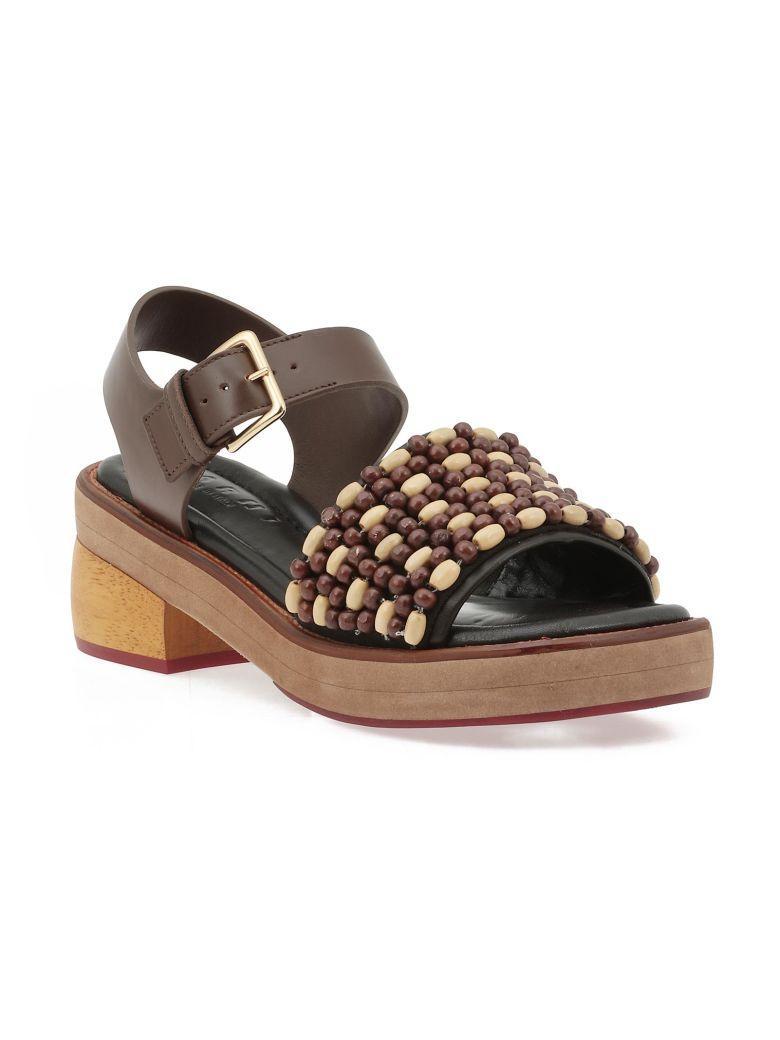 Marni Leather Sandal In Black Earth