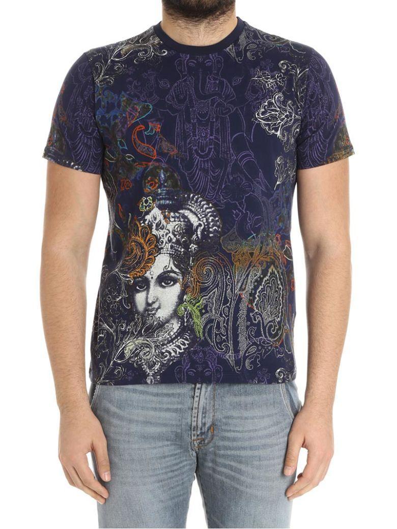 Etro Cotton T-Shirt In Blue