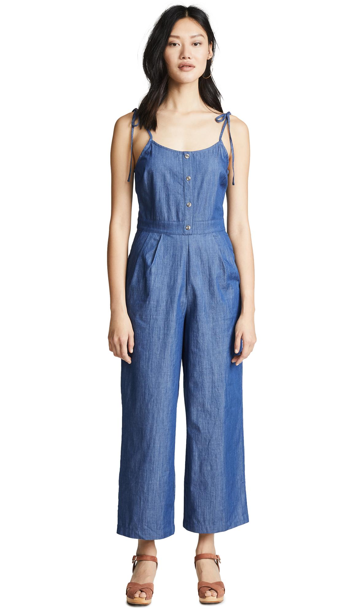 66261c8fa06 Evidnt Tie Shoulder Jumpsuit In Chambray