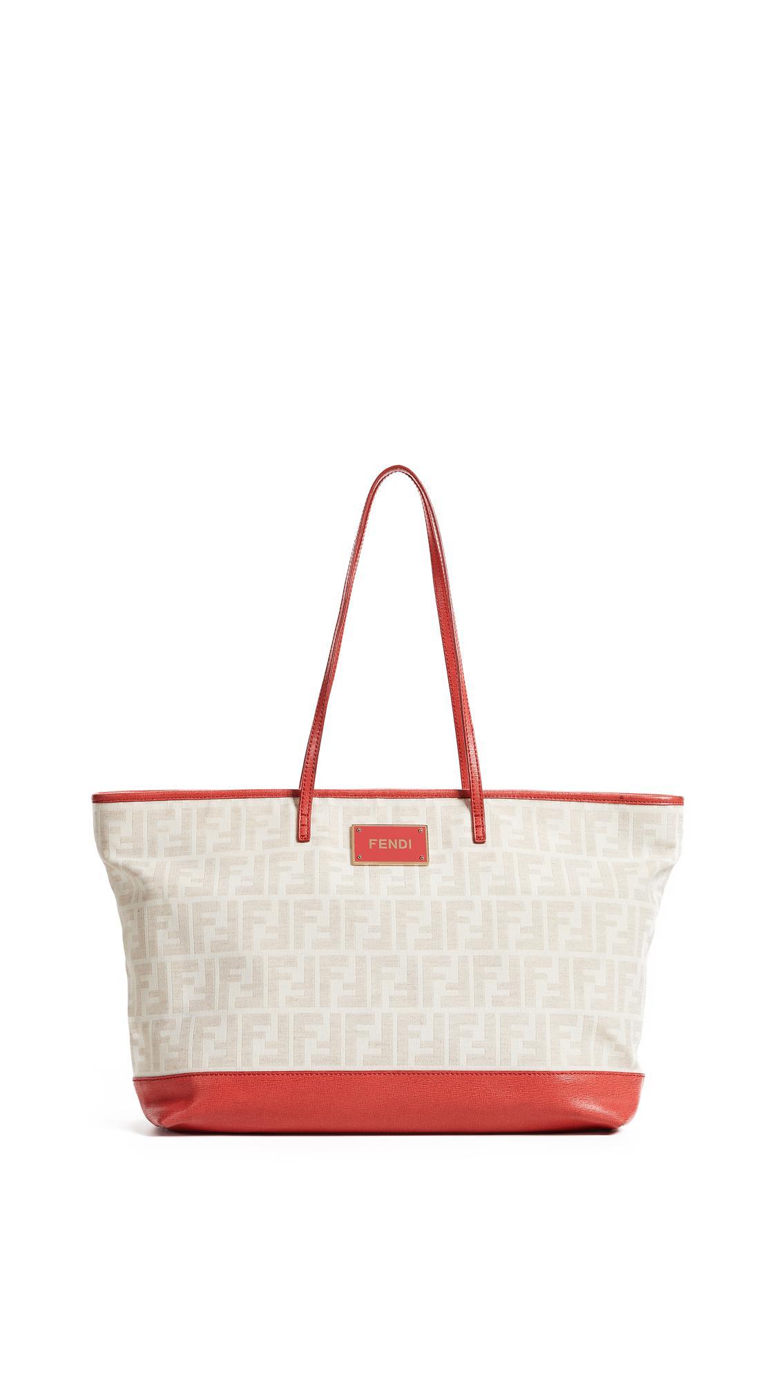 e2fcee638a Fendi Zucca Canvas Roll Tote Bag In Red | ModeSens