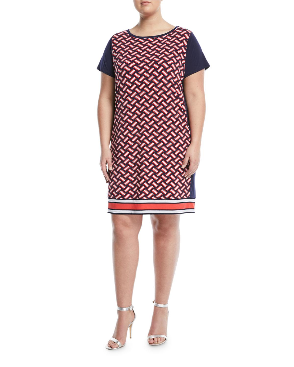 c09610c084a Michael Michael Kors Weave-Print Cap-Sleeve Shift Dress