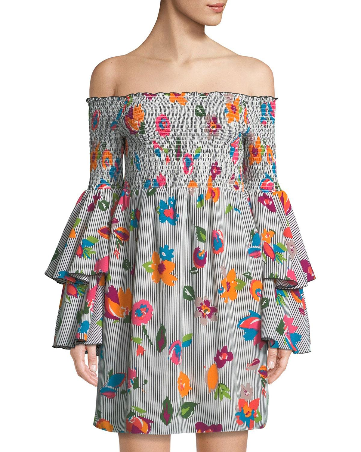 29d919560595 Nicole Miller Off-The-Shoulder Tiered-Sleeve Floral Dress In Multi Pattern