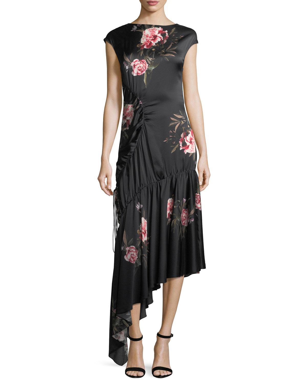 0c9f3e8ed60a9 Sachin & Babi Woman Huma Asymmetric Floral-Print Silk-Satin Midi Dress Black