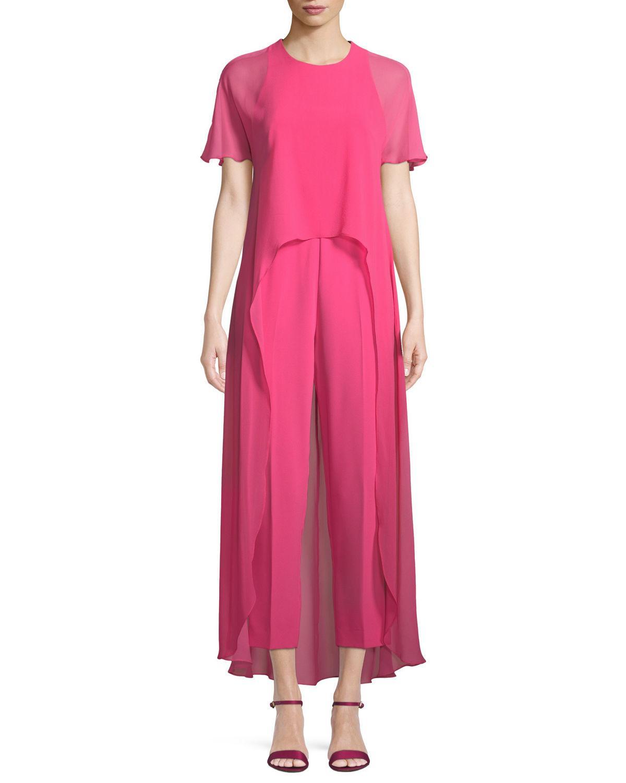 4df88fb6c5d2 Trina Turk Capote Sheer Short-Sleeve Jumpsuit In Pink Swizzle