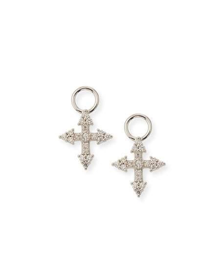 Jude Frances 18K Provence Tiny Cross Diamond Earring Charms In White/Gold