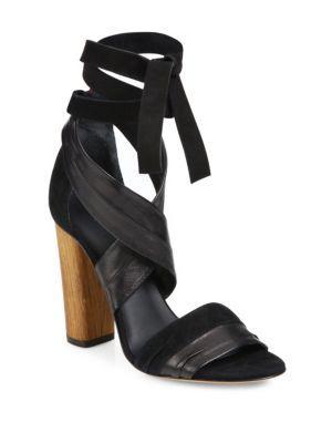 588ace8c721 Beatrice Leather & Suede Wraparound Block-Heel Sandals in Black