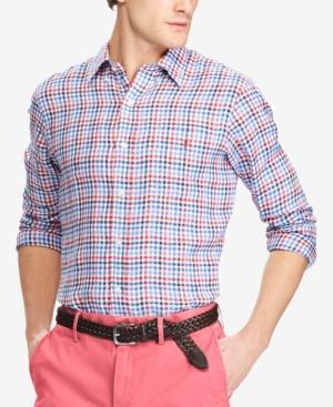 a762c12a Men's Classic Fit Plaid Linen Shirt in Red/Blue