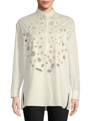 Akris Cut-Out Tunic Blouse In Anemone