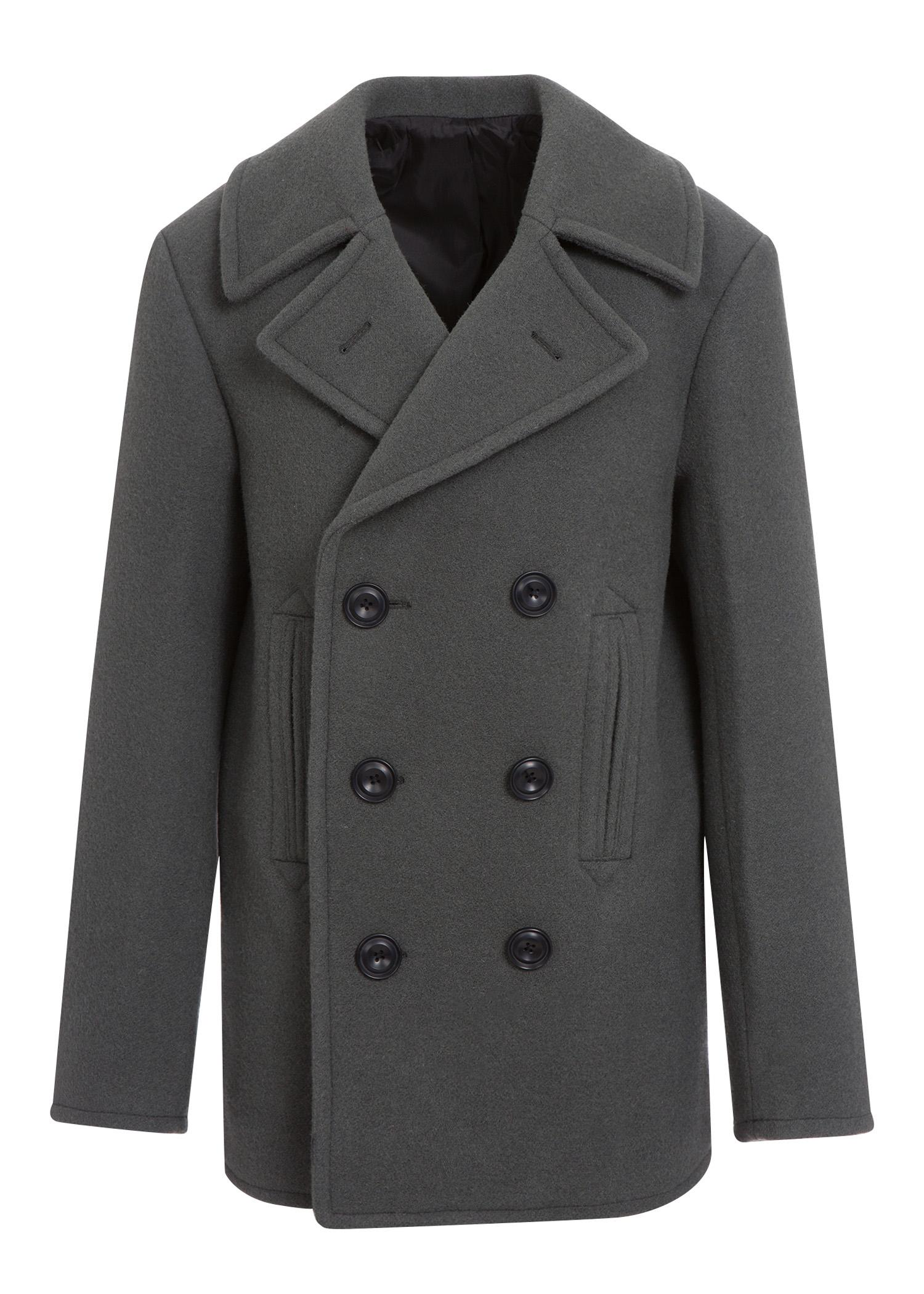 Lemaire Caban Wool Peacoat In Anthracite